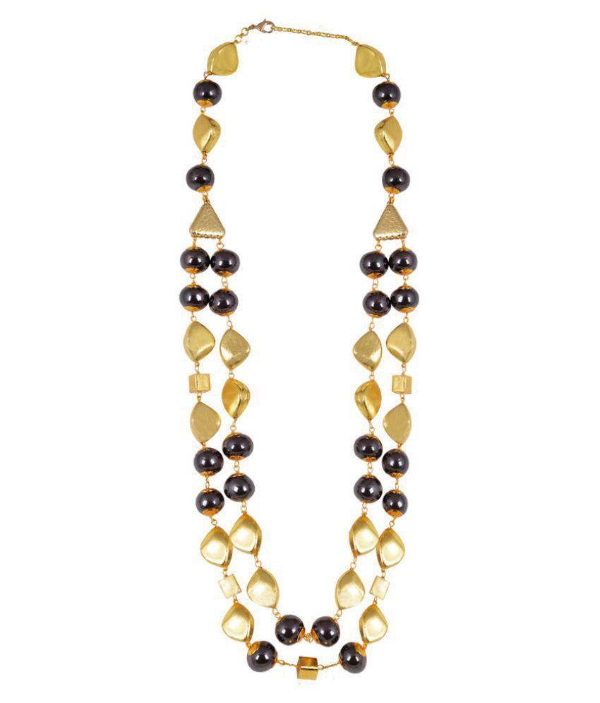 Shaze Golden Ceramic Necklace