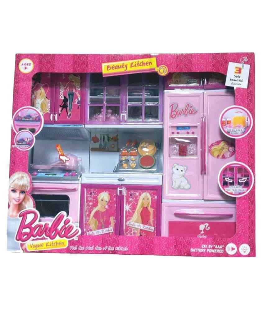 Om Pink Barbie Home Kitchen Set Buy Om Pink Barbie Home Kitchen