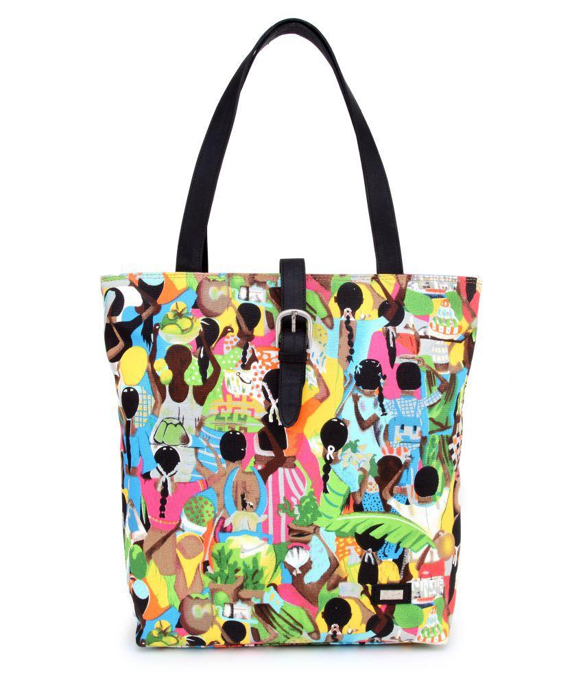 U+N Multi Canvas Cloth Shoulder Bag