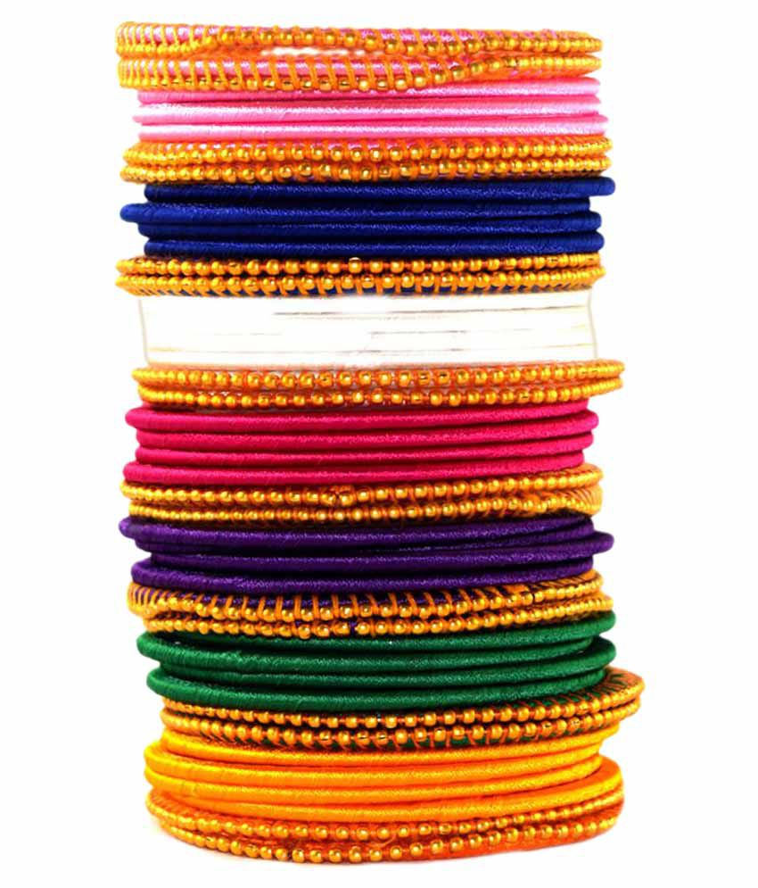 Naksh multicolour silk thread bangles set of 43 buy for What do we use silk for