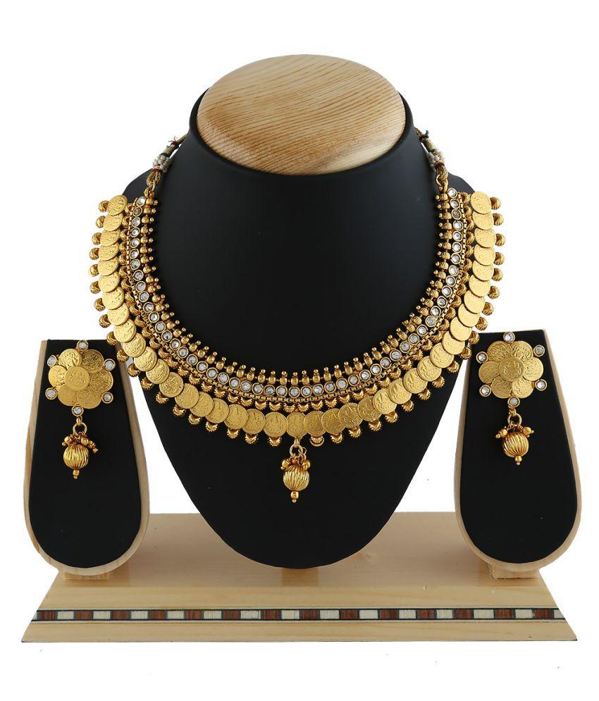Anuradha Art Golden Alloy Necklace Set