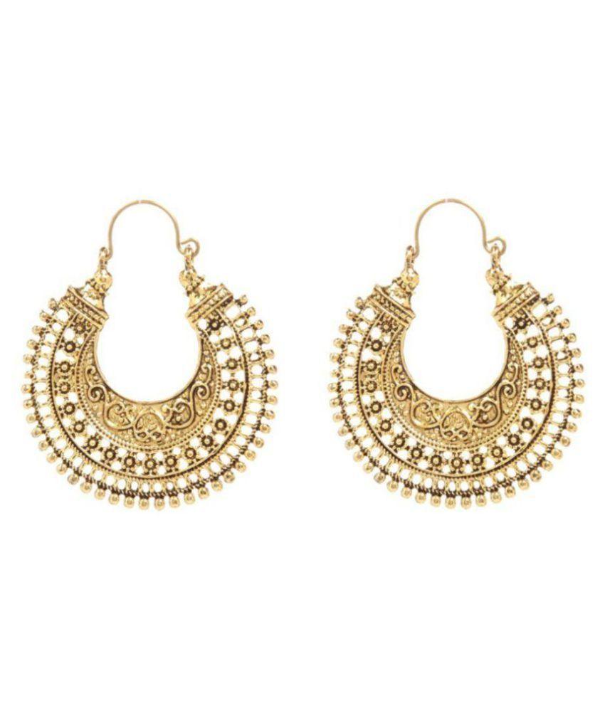 Jewels Guru Exclusive Golden Alloy Earrings