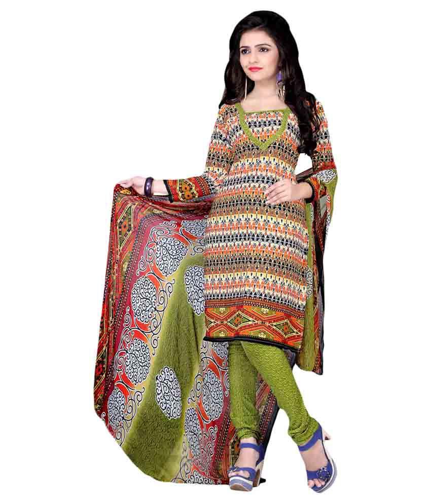 Jiya Multicoloured Crepe Dress Material