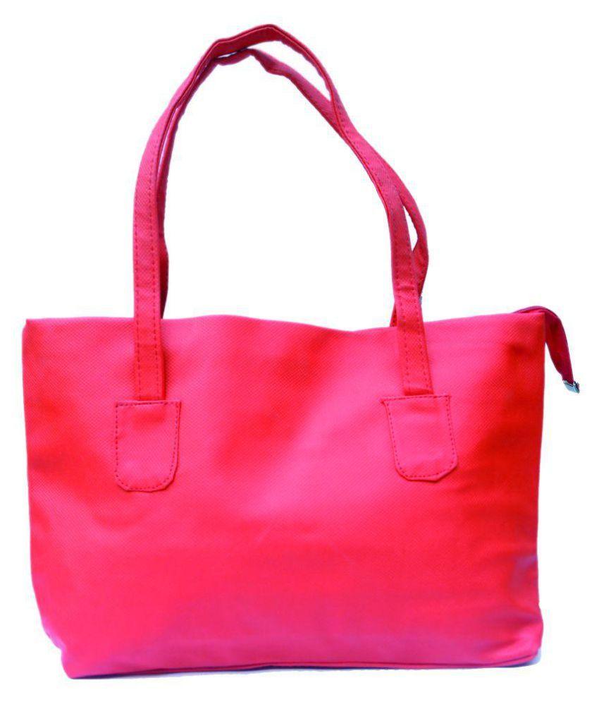 D Jindals Red P.U. Shoulder Bag
