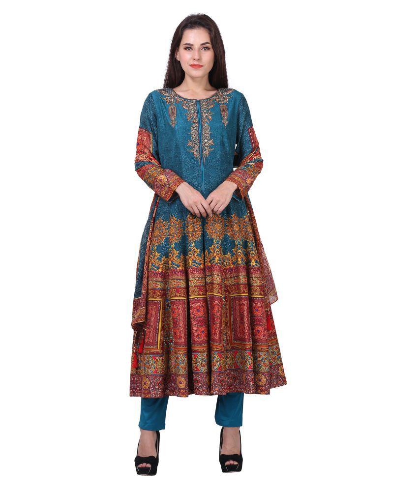 Mini Singh Blue Polyester A-line Stitched Suit