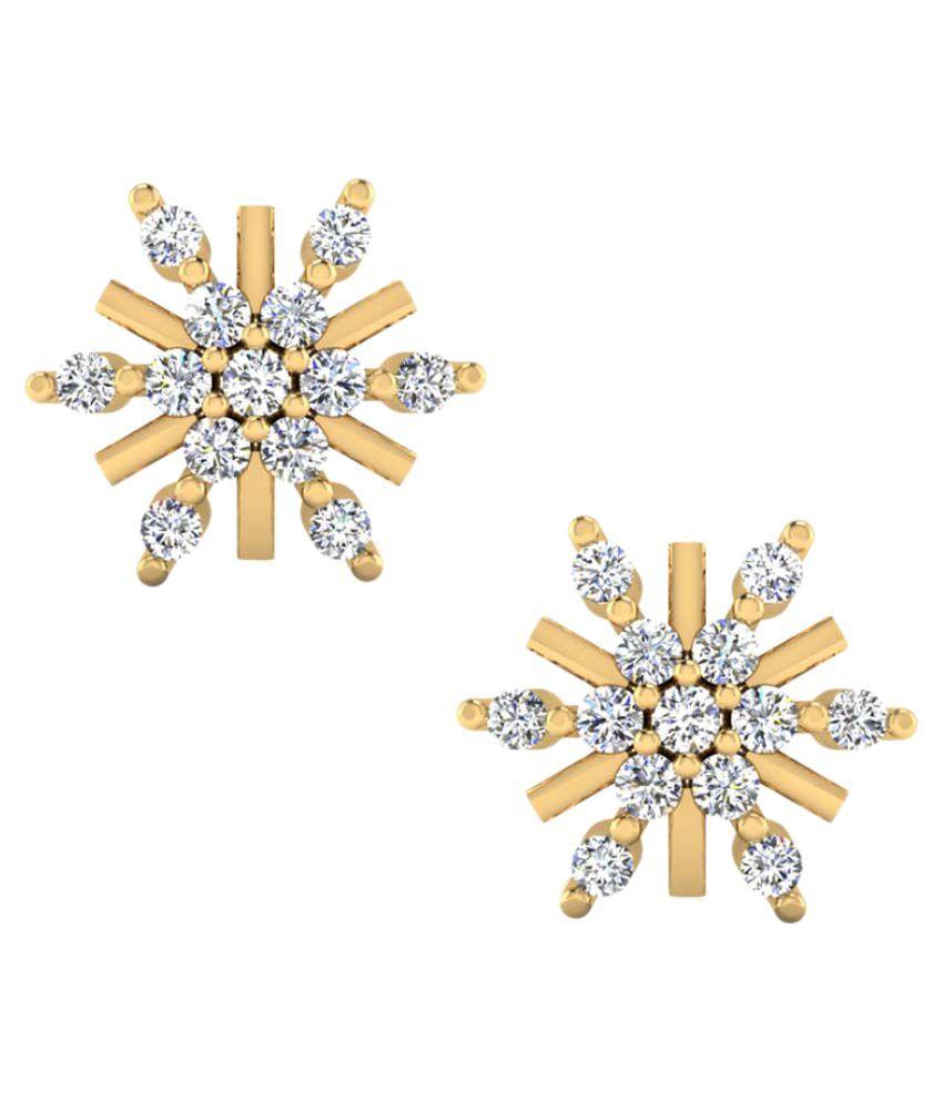 Naginabyiskiuski 14k BIS Hallmarked Yellow Gold Diamond Studs