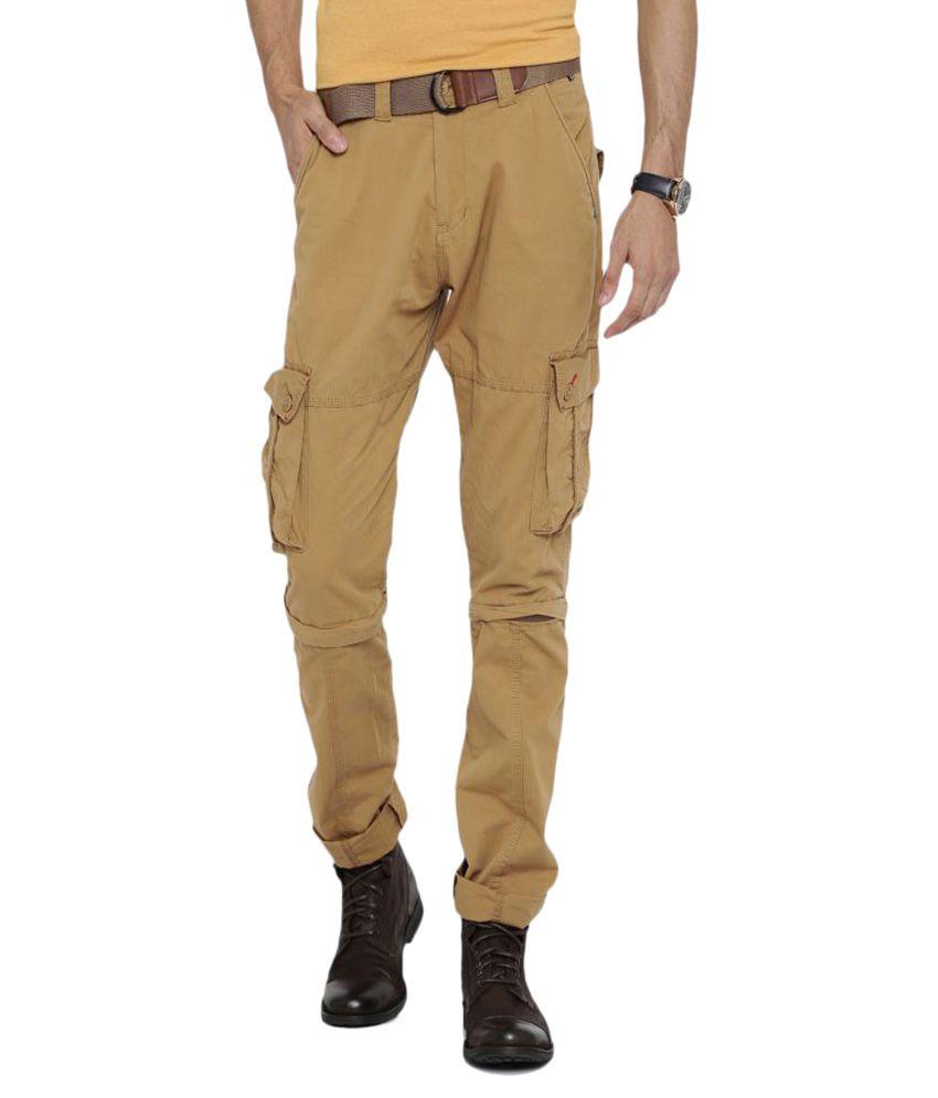 Sports 52 Wear Khaki Tapered Flat Cargos