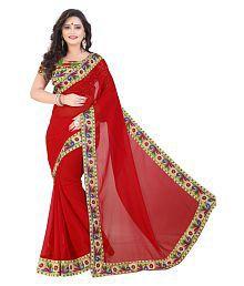 SareeShop Designer SareeS Red Chiffon Saree
