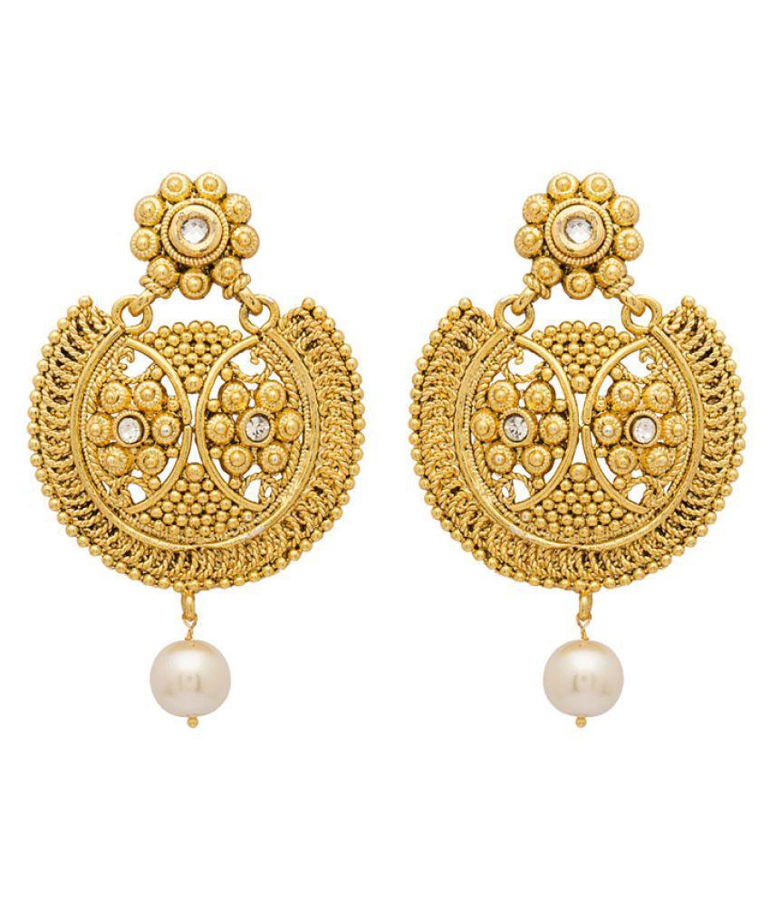 Voylla Golden Hanging Earrings