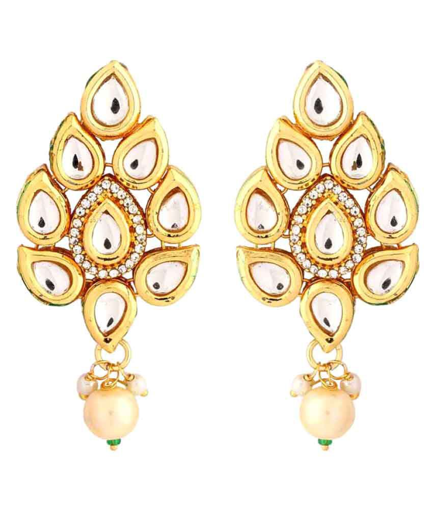 Voylla Gorgeous Kundan Drop Earrings with Antique Gold Plating
