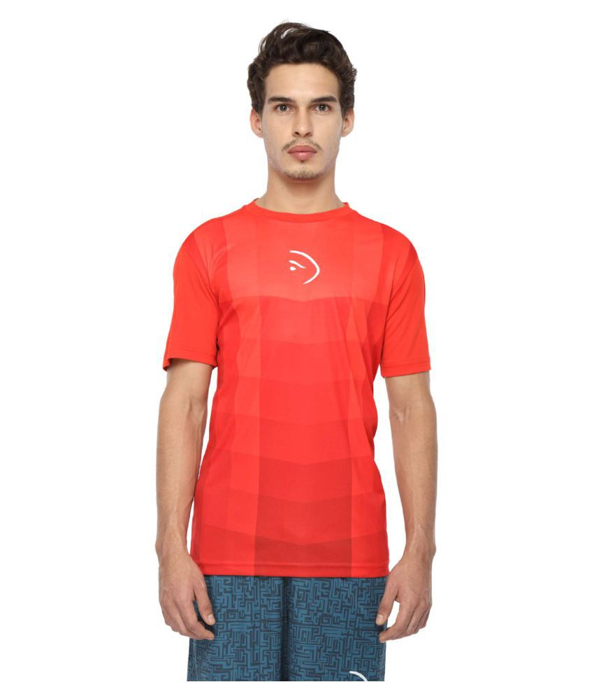 Piranha Sportswear Red Polyester T-Shirt