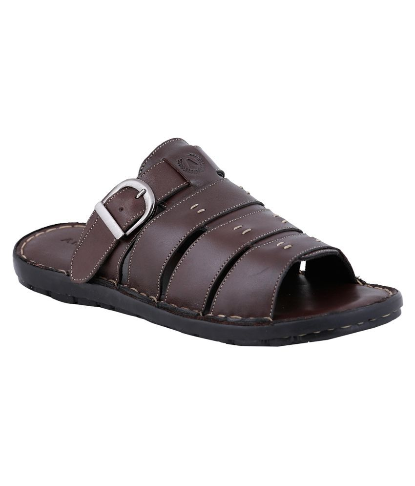 Amster Brown Pure Leather Mens Slippers