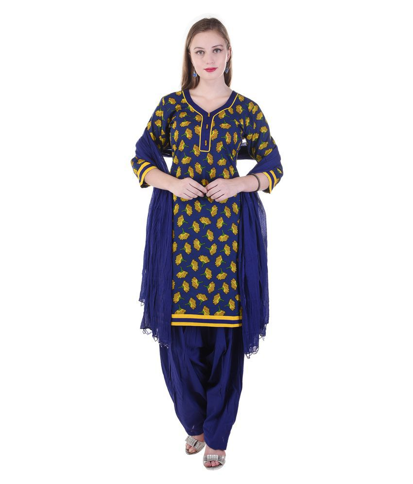 Lamizor Blue Cotton Straight Stitched Suit