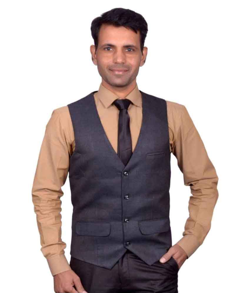 Switchon Black Solid Party Waistcoats