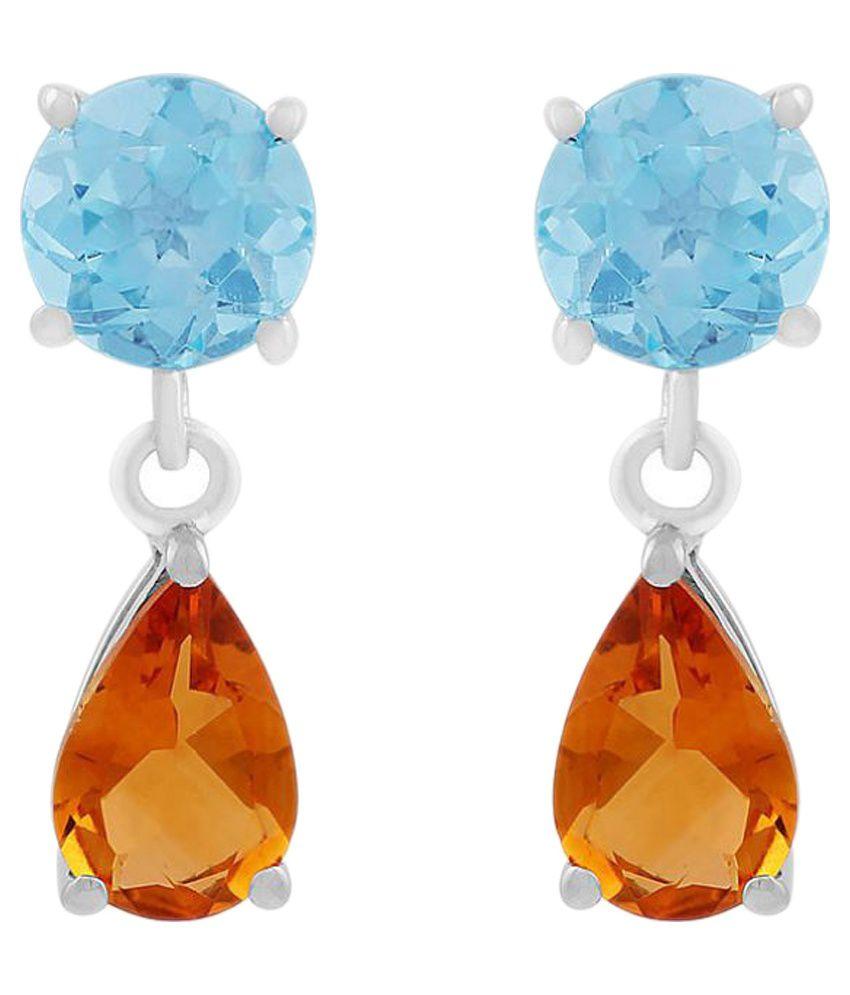 Allure Jewellery 92.5 Silver Citrine Drop Earrings