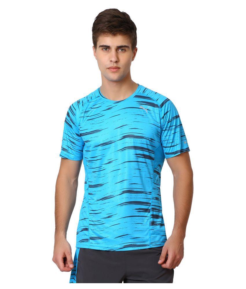 Puma Sky Blue Polyester T-Shirt