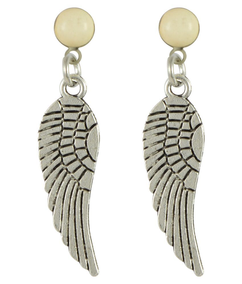 Sarah Carved Wings Delicate Beads Oxidised Earring