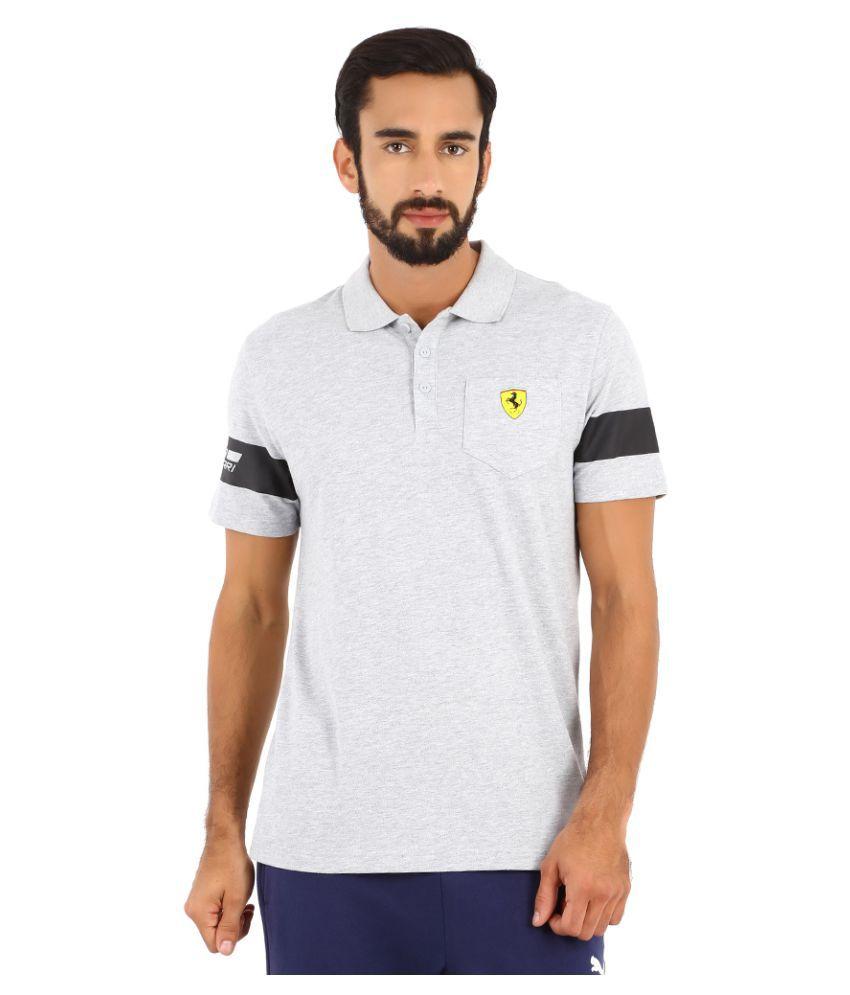 Puma Grey Polyester Polo T-Shirt
