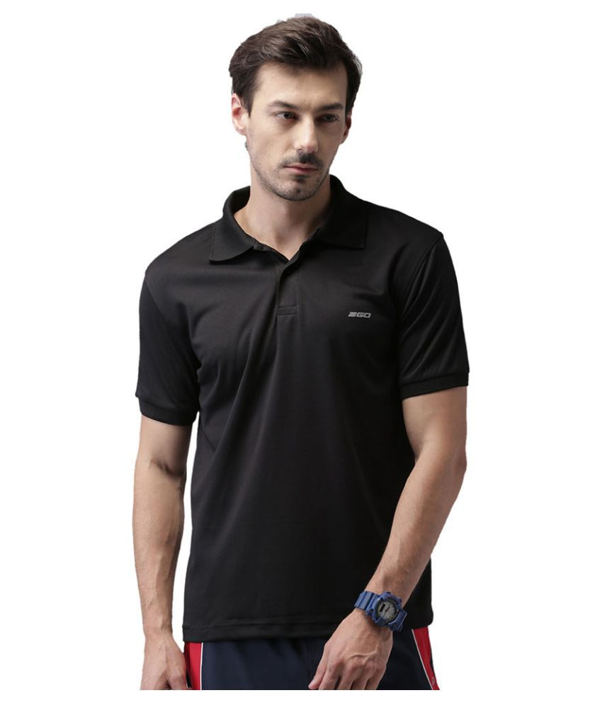 2Go Black Polyester Polo T-Shirt Single Pack