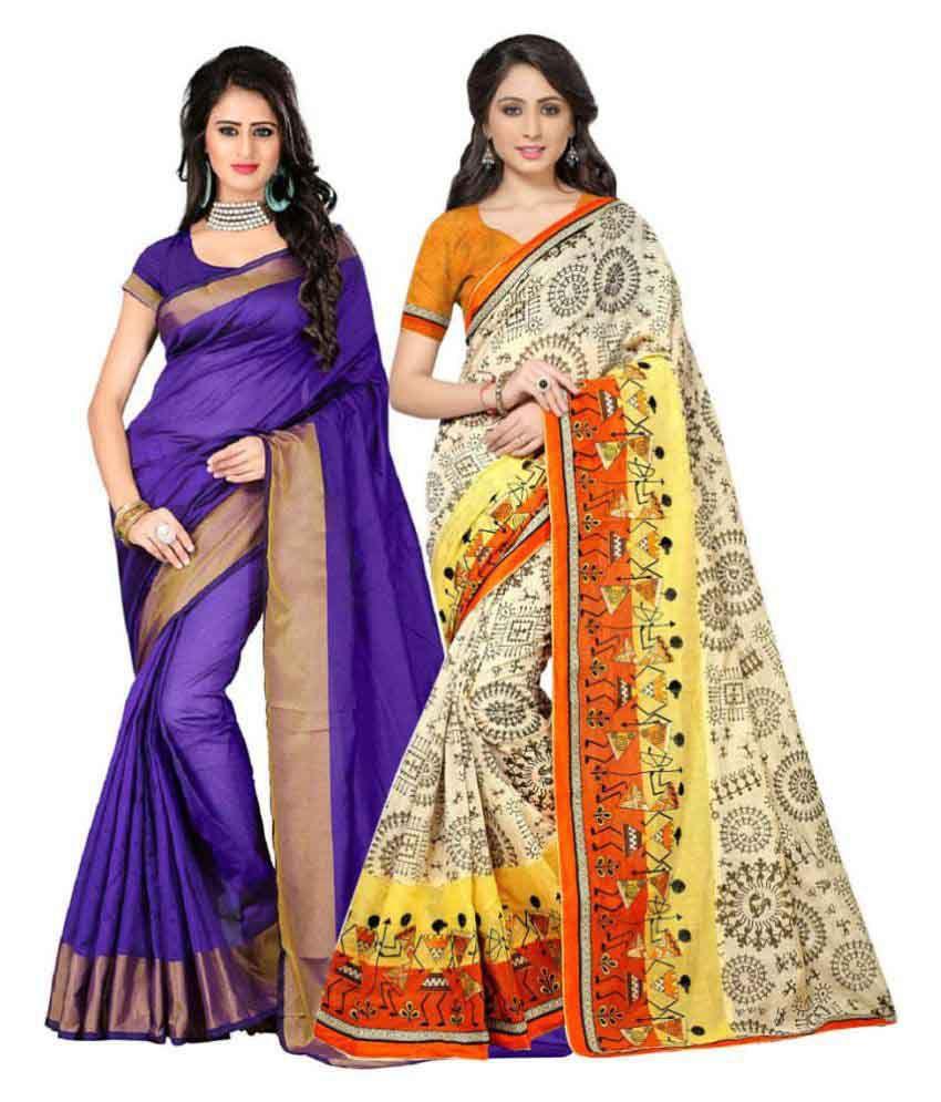Pramukh Suppliers Multicoloured Georgette Saree Combos