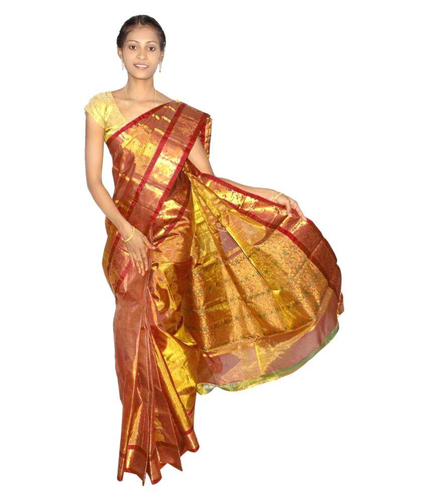 Mahaveer Designers Brown and Orange Silk Saree
