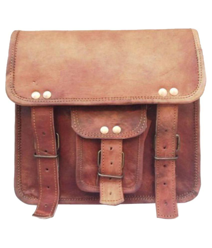 Pranjals House Brown Leather Casual Messenger Bag