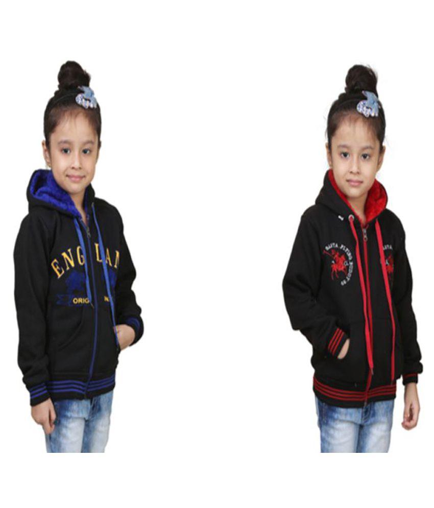 Qeboo Black Fleece Sweatshirts - Pack of 2