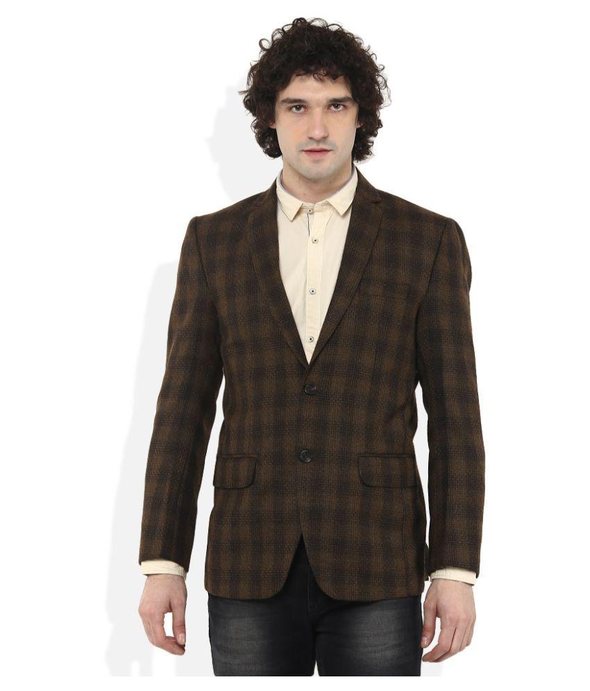 Monte Carlo Brown Checks Casual Suit