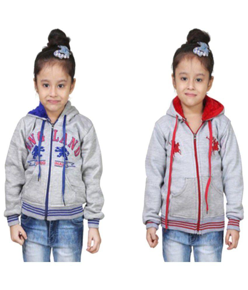 Qeboo Grey Fleece Sweatshirt - Pack of 2