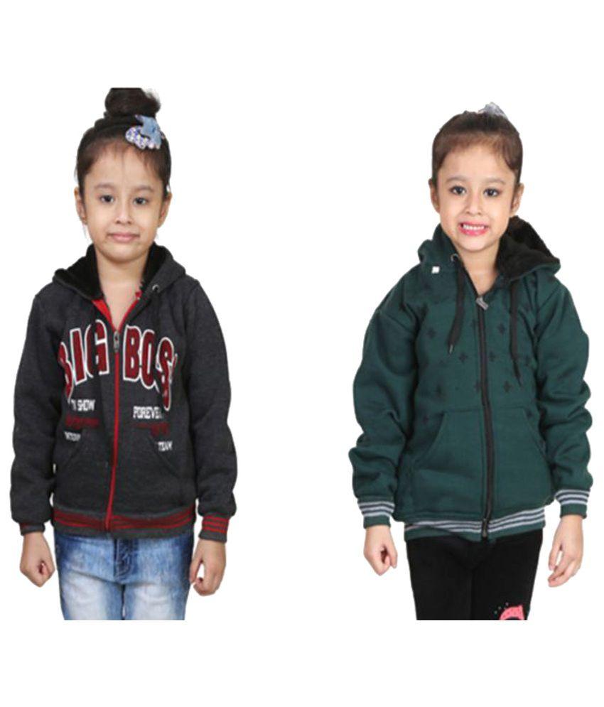 Crazeis Multi Color Fleece Sweatshirts Pack of 2 For Gril's