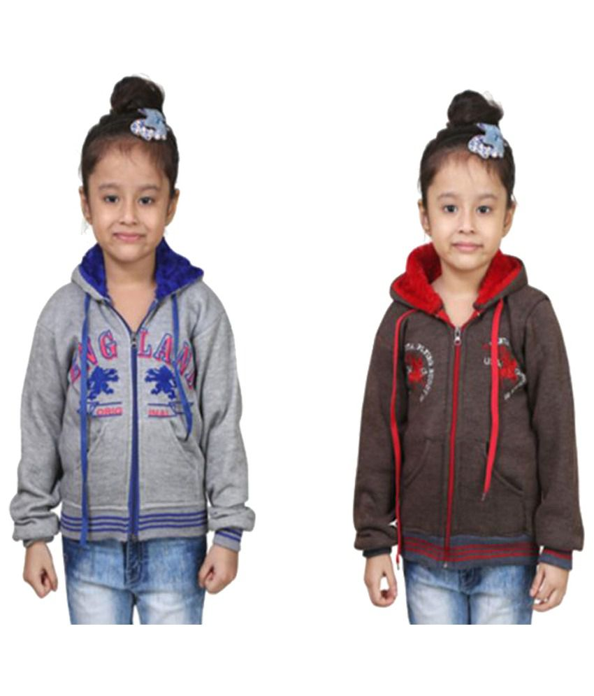 Crazeis Multicolour Fleece Sweatshirt - Pack of 2