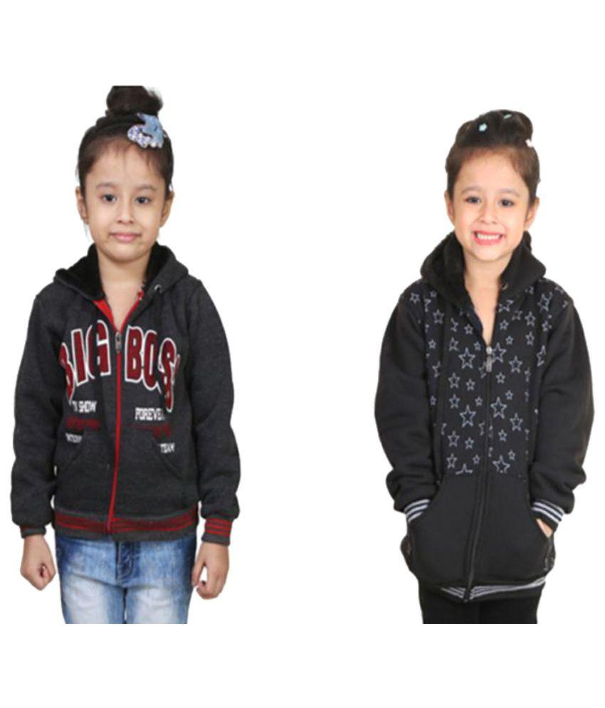 Crazeis Multicolour Girl's Sweatshirt - Pack of 2