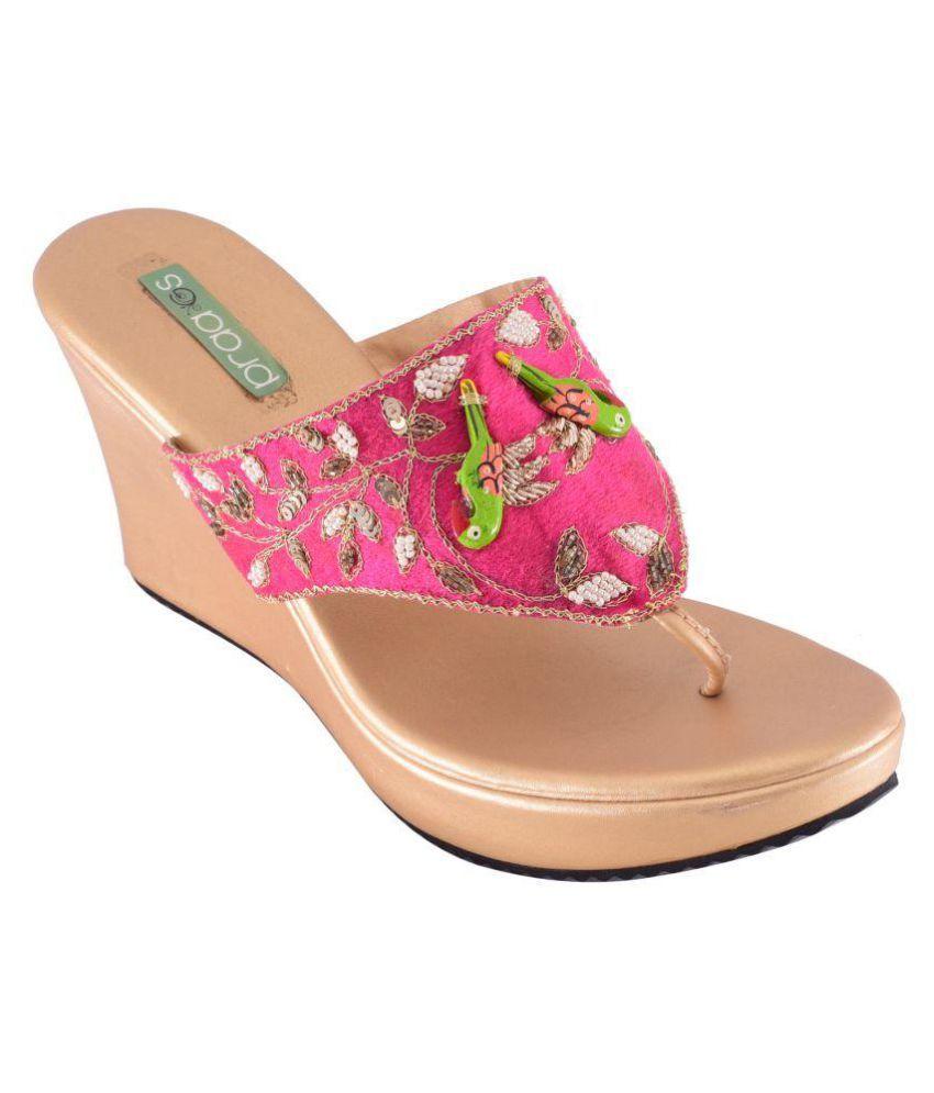 Praags Pink Wedges Heels
