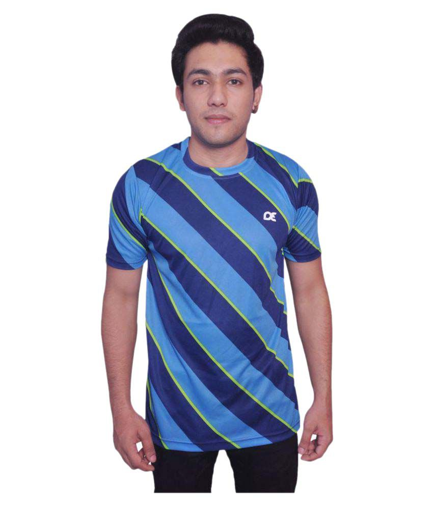 Dyed Colours Blue Polyester T Shirt