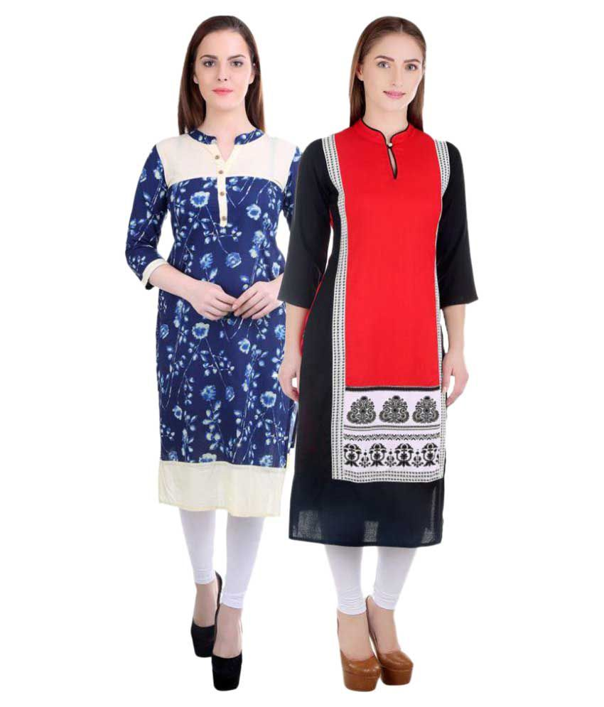 Om Sai Fashion Multicoloured Cotton Straight Kurti