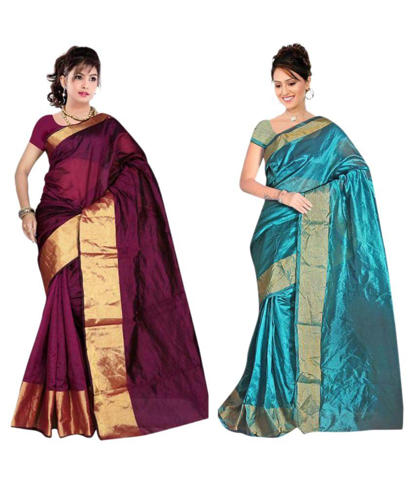 Gazal Fashions Multicoloured Cotton Silk Saree Combos