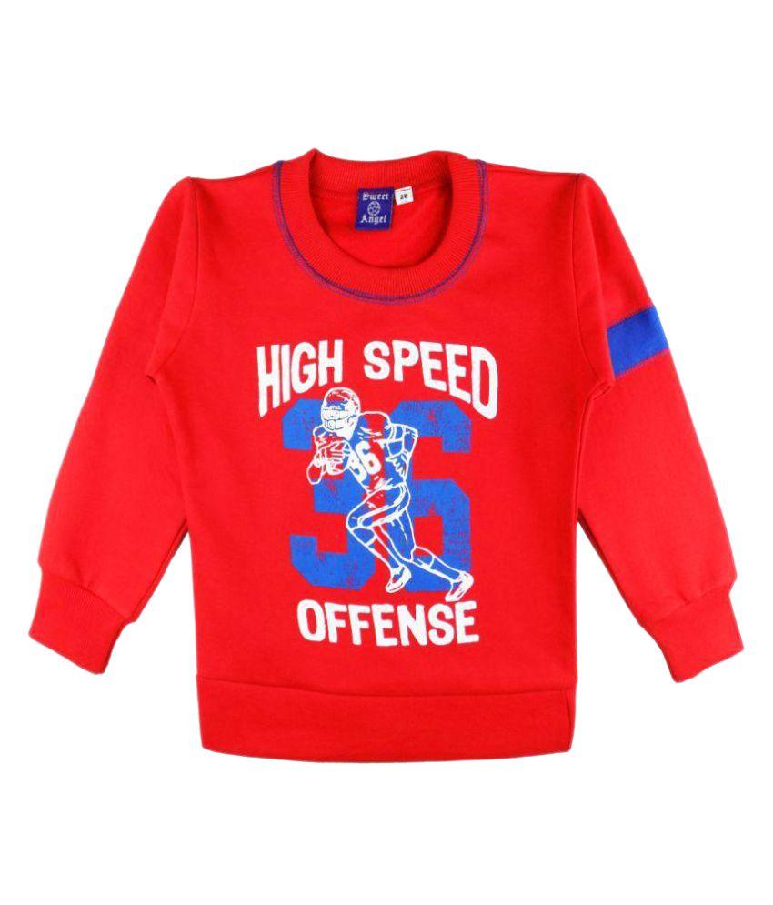 Sweet Angel Cotton Red Sweatshirt for Girls
