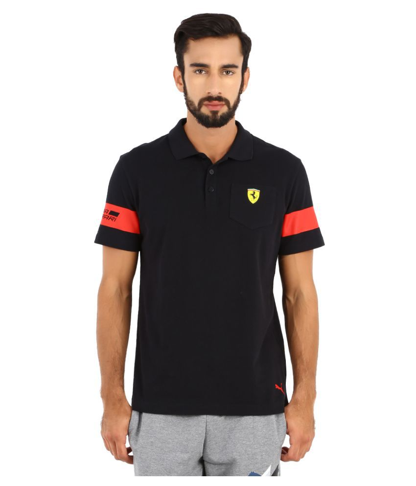 Puma Black Polyester Polo T-Shirt