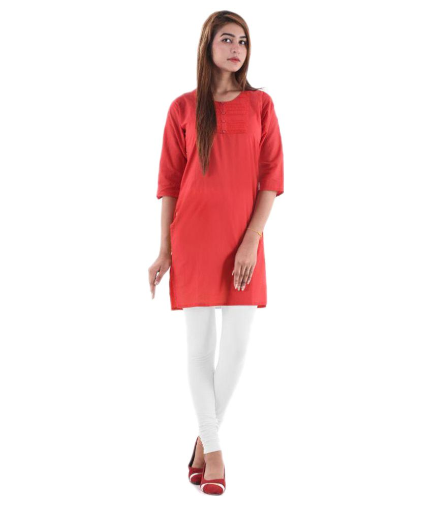 V.O Couture Red Cotton Straight Kurti