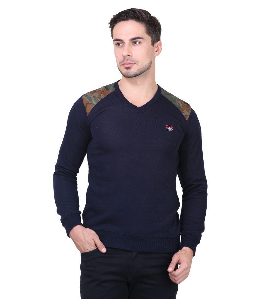 Bravezi Navy V-Neck T-Shirt