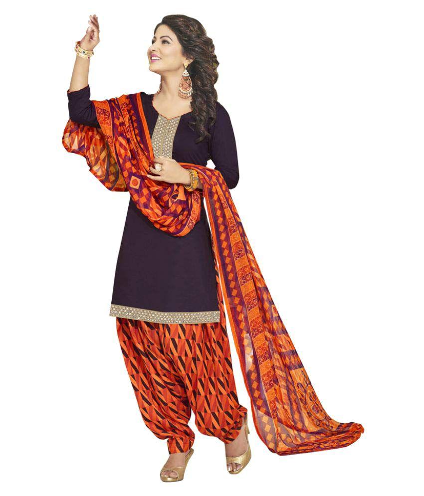 Khoobee Purple Cotton Dress Material