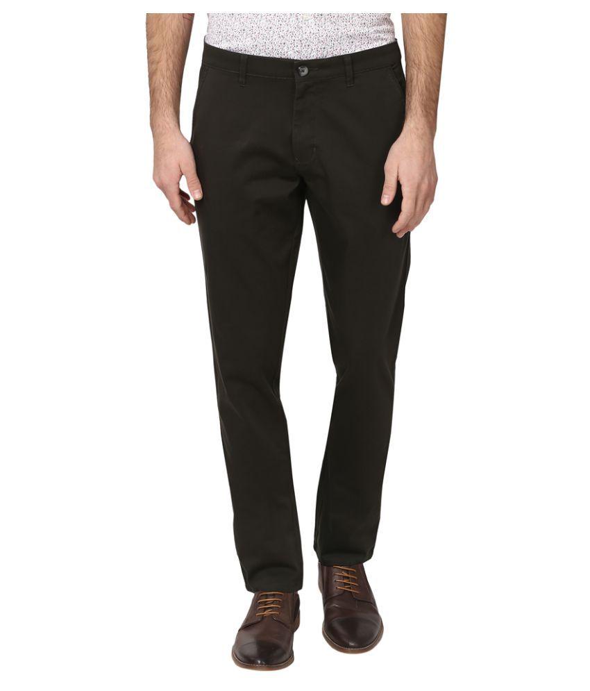 Parx Green Regular Flat Trousers
