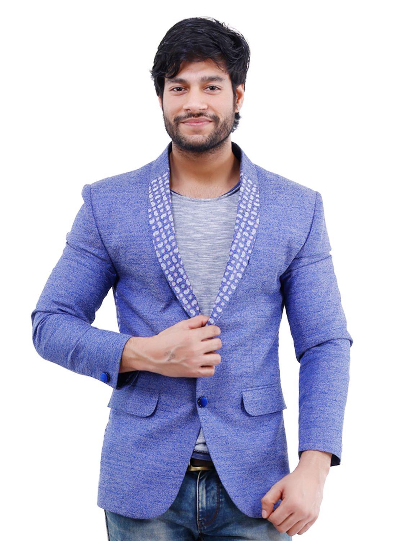 La Mode Purple Printed Casual Blazers