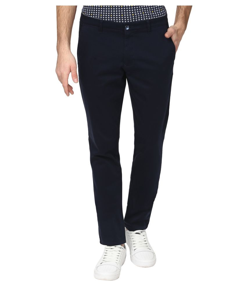 Parx Black Regular Flat Trousers