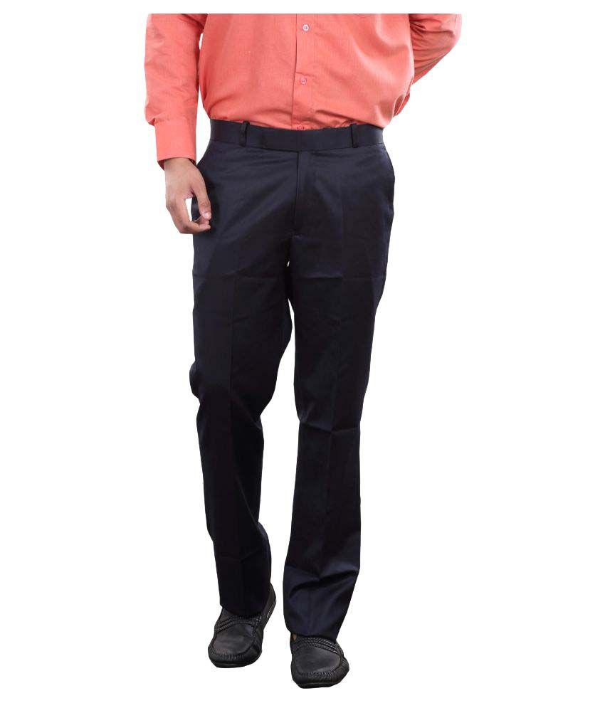 Audacity Navy Blue Slim Flat Trousers