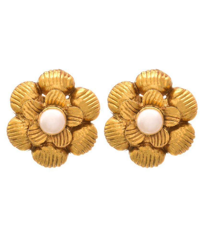 Jfl Jewellery For Less One Gram Gold Plated Pearl Designer Stud Earrings