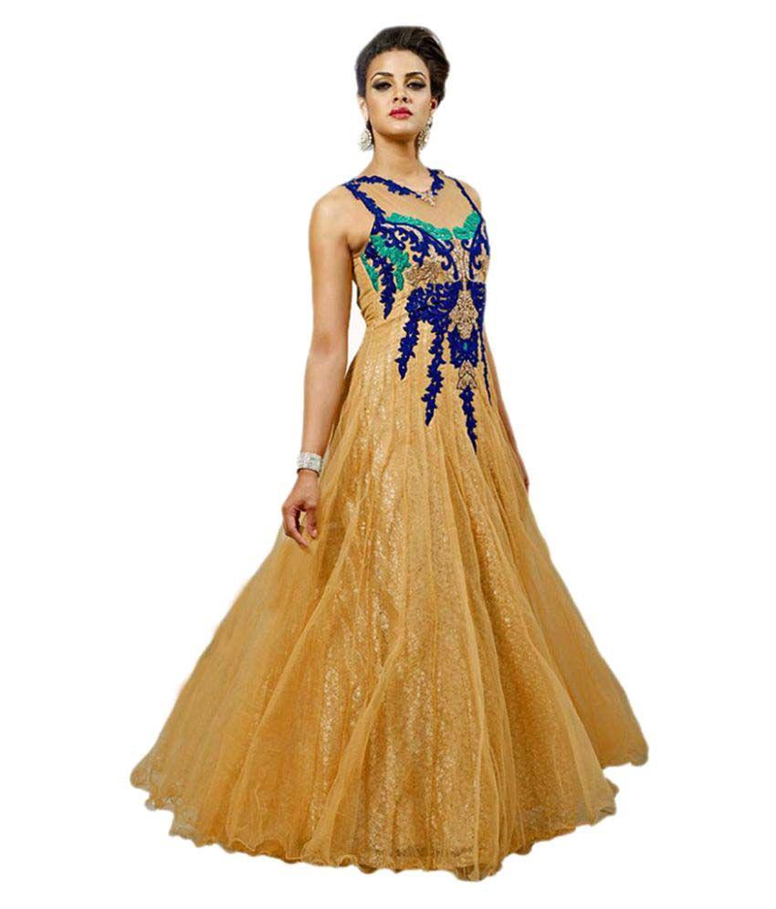 Amardeep Creation Gold Net Dress Material