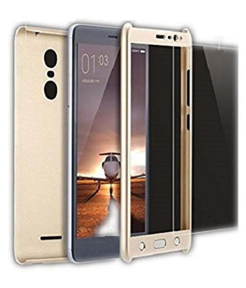 Johra iPaky 360 Degree Protection Front & Back Case Cover for Xiaomi Redmi Note 3 with Tempered Glass - Golden