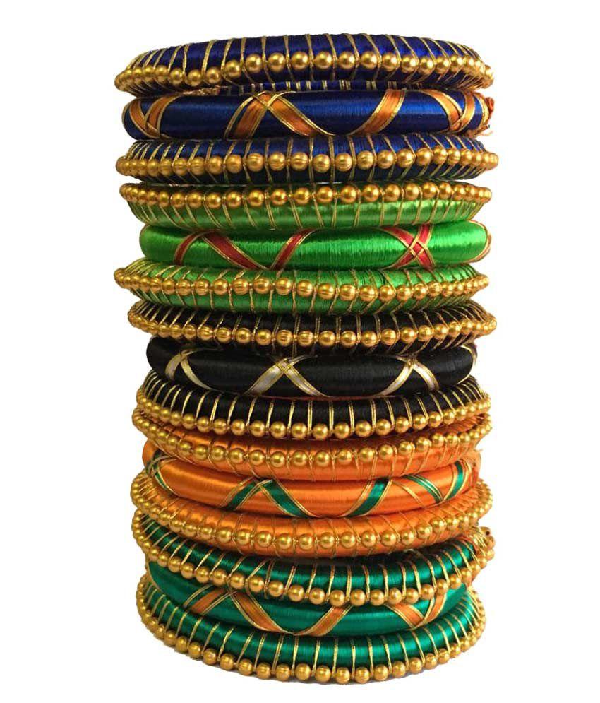 Kuhuk Multicolor Silk Thread Plastic Kada Set