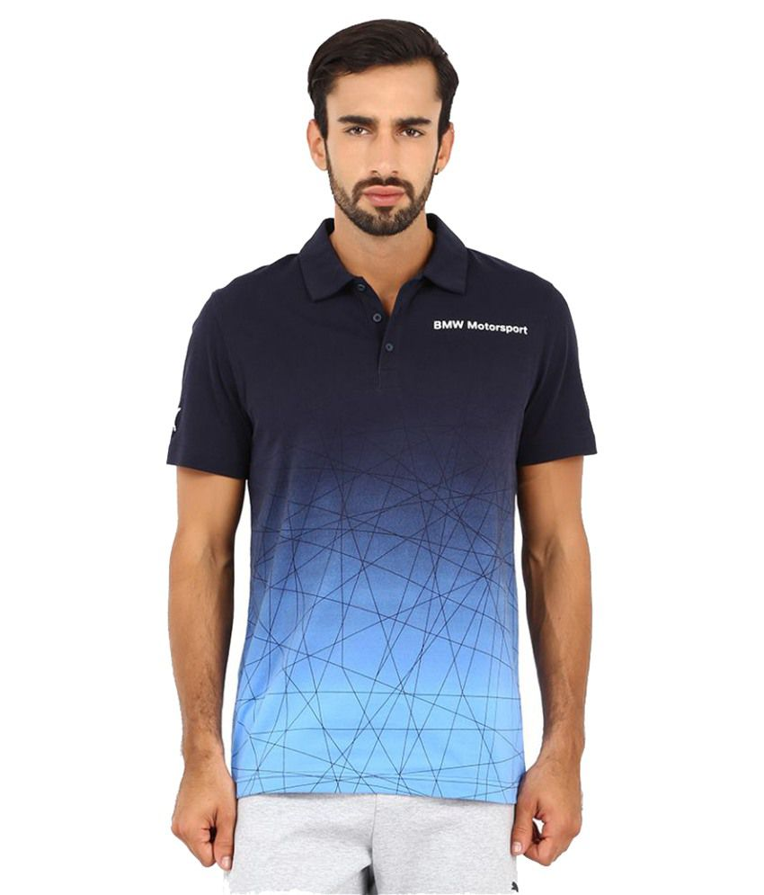 Puma Blue Polyester Polo T-Shirt
